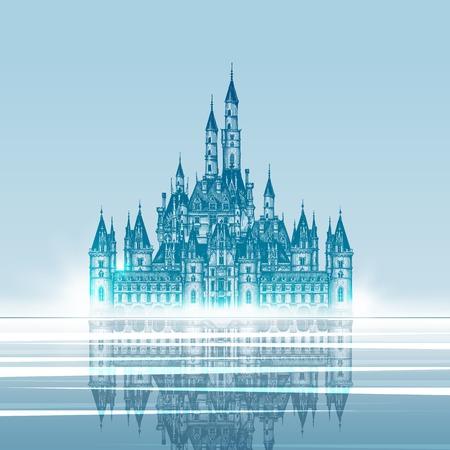 fortalecimiento: Castillo medieval. Dibujado a mano ilustraci�n vectorial. Ilustraci�n vectorial
