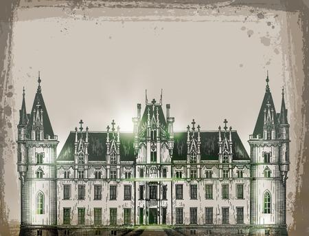 chateau, France.  Hand drawn sketch vector illustration
