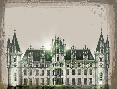 balcony view: chateau, France.  Hand drawn sketch vector illustration