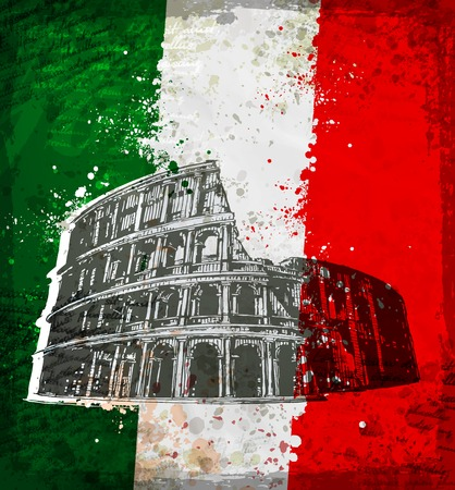 Vintage style of Colosseum in Rome. Vector format Stock Illustratie