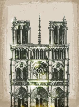 Cathedral of Notre Dame de Paris. Hand Drawn Illustrationral of Notre Dame de Paris, France. Hand Drawn Illustration Vector