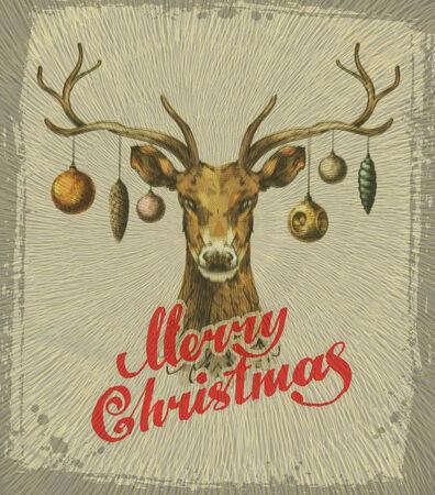 Merry Christmas. Vintage Christmas card. deer. Vector illustration Vector