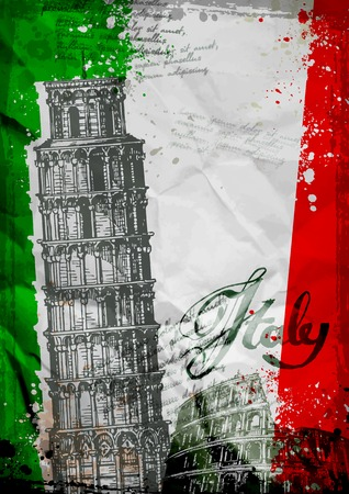 italy: Architecture of Italy on the background of the Italian flag