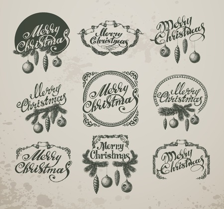 happy new year text: Christmas Vintage Icons, Elements And Illustrations Set Illustration