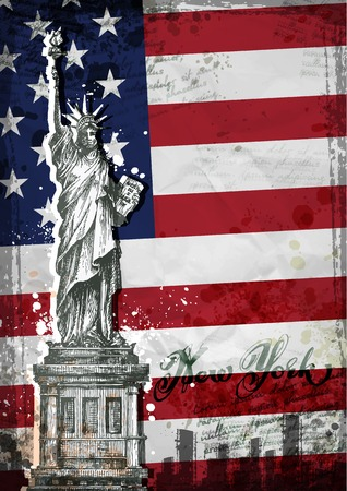 statue of liberty: statue of Liberty. United States flag. Vector illustration
