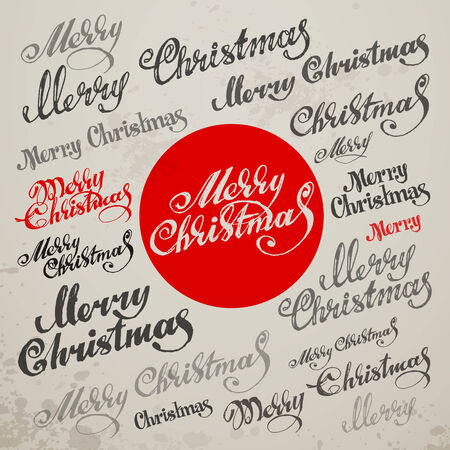 type lettering: Merry Christmas Vector Calligraphic Lettering. Vector illustration Illustration