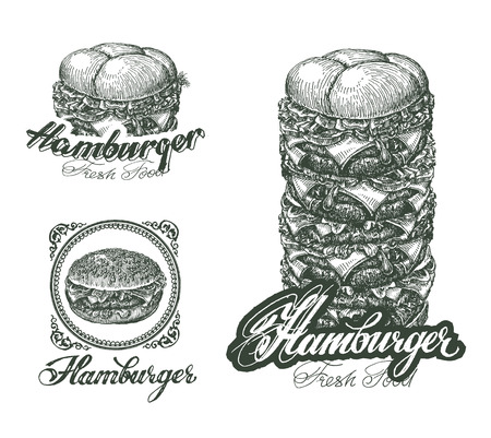 quality home: Burger icons, labels, signs, symbols and design elements. Vector illustration