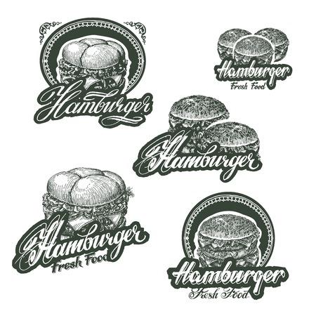 main dishes: Cheeseburger y hamburguesa con queso. El formato del vector