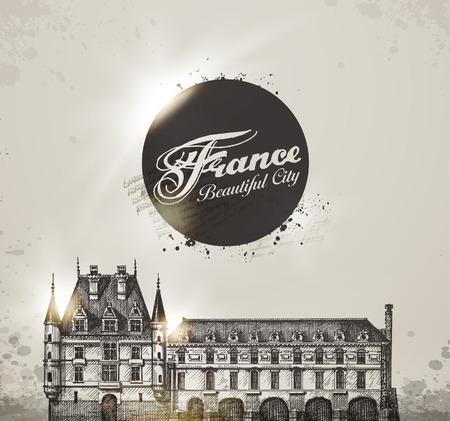 rekolekcje: Chateau de Chenonceau, Dolina Loary, Francja. Ilustracji wektorowych Ilustracja