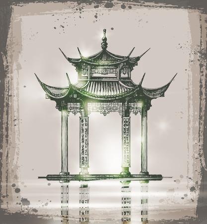 temple. Hand drawn sketch vector illustration. Sketch of Japan Landmark Illustration