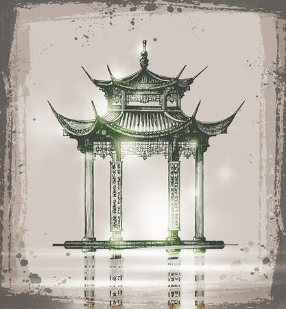 temple. Hand drawn sketch vector illustration. Sketch of Japan Landmark Vector
