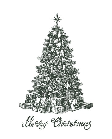 Hand drawn Christmas tree and gifts. Vector illustration Vector