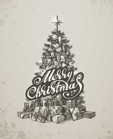 Christmas hand drawn fur tree for xmas design. Vector illustration Vector