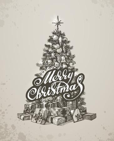 fur tree: Mano di Natale disegnato albero di pelliccia per la progettazione di Natale. Illustrazione vettoriale Vettoriali