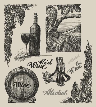 winemaking: Hand drawn vector wine and winemaking set Illustration