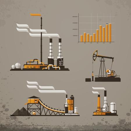 bedrijfshal: Industrieel gebouw fabriek en energiecentrales pictogrammen