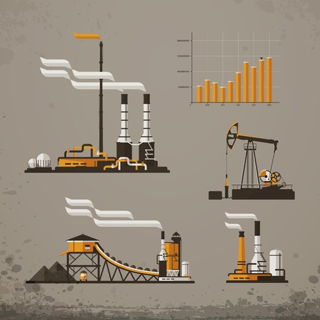 Industrial building factory and power plants icons
