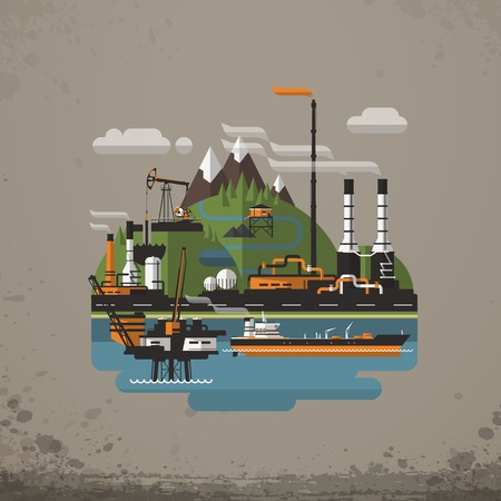 Abstract Industrial Factory, Manufacture Building. Background vector illustration