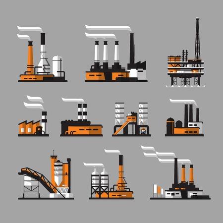 industria petroquimica: Iconos de fábrica. iconos fábrica industrial sobre el fondo gris