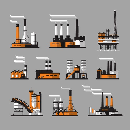 Factory icons. industrial factory icons on gray background Illustration