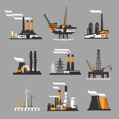 industry: vector black factory icons set on gray .industrial factory icons