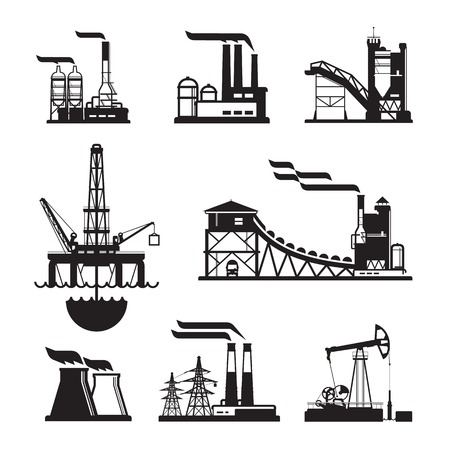 vector black factory icons set on gray. Factory, power plants and industrial buildings