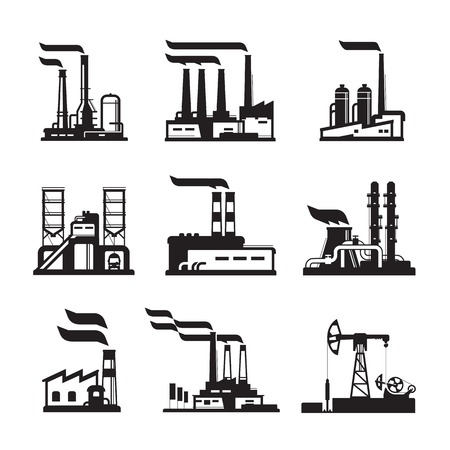 coal plant: black factory icons set. Industrial buildings, nuclear plants and factories