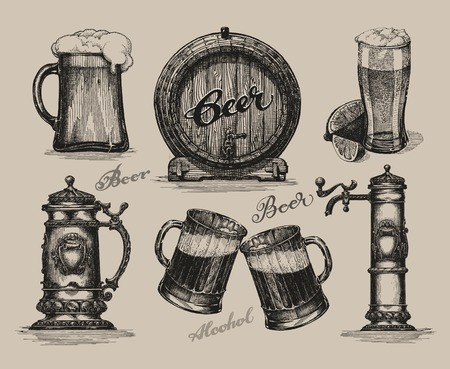glasses of beer: Beer set. elements for oktoberfest festival. Hand-drawn vector illustration