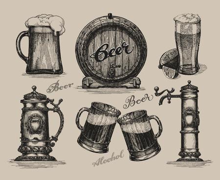 cebada: Conjunto de la cerveza. elementos para el festival Oktoberfest. Ilustración vectorial dibujado a mano Vectores