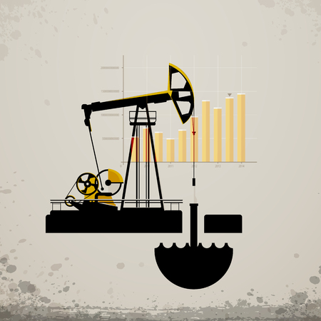 oil pump jack. Statistics oil production in the world Vector