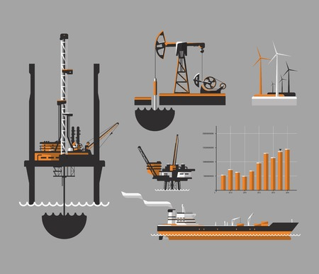 Oil and petroleum icon set. Oil drilling rig, vector illustration