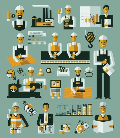 asamblea: Proceso de producci�n de la f�brica iconos ilustraci�n vectorial infograf�a Vectores