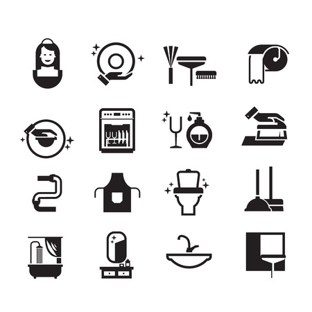 black cleaning icons set on white background. Vector illustration Vector