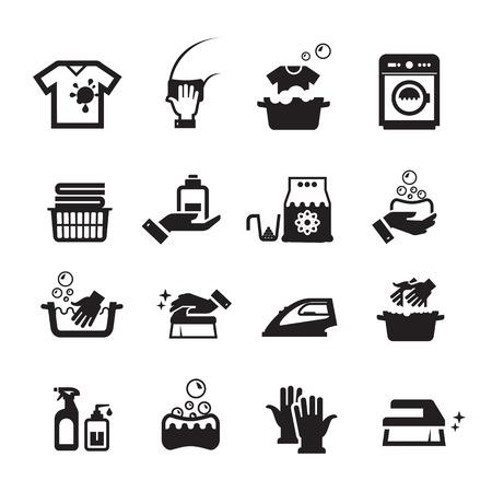 laundry: Iconos de lavado de lavandería establecen. Colección de iconos en el fondo blanco
