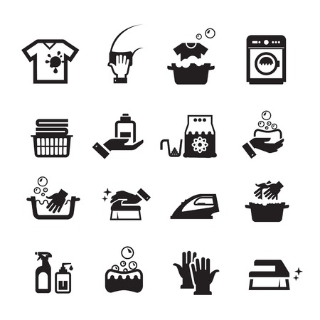 hand baskets: Laundry washing icons set. Collection of icons on white background Illustration