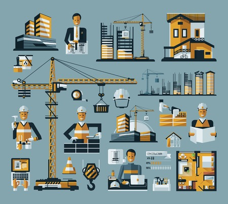 construction icon: vector colored construction icon set on a blue background Illustration