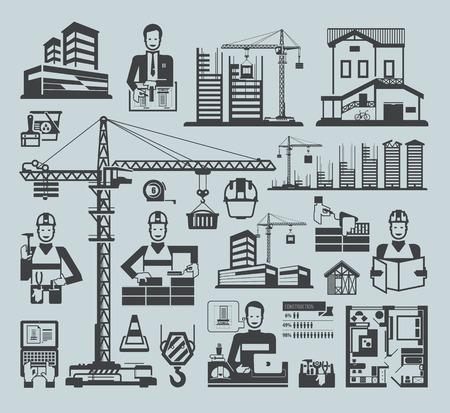 materiales de construccion: Iconos de la construcci�n. Vector iconos negros en un fondo azul