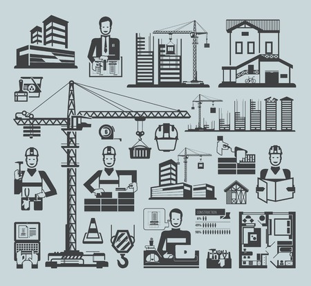 Icons construction. Black vector icons on a blue background Illustration