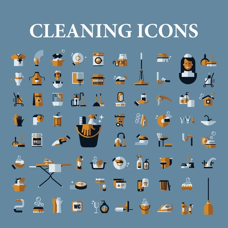 cleaning equipment: vector icons of black on a white background