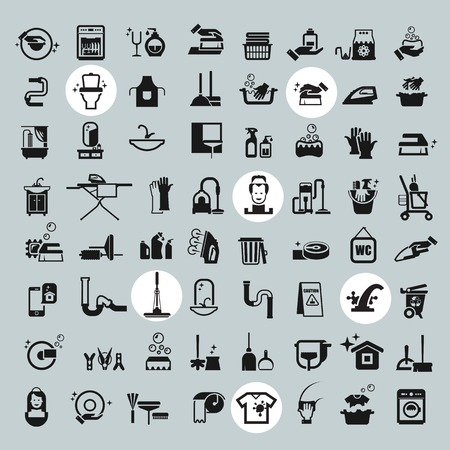 Reinigen van iconen. vector zwarte reiniging pictogrammen instellen Stockfoto - 33995530