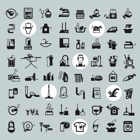 Reinigung Icons. Vektor schwarze Reinigungs icons set