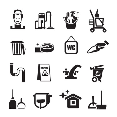 water sanitation: cleaning icons set. Set of icons on a white background