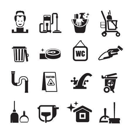 Reinigungs Symbole gesetzt. Reihe von Icons auf einem weißen Hintergrund Standard-Bild - 33995531