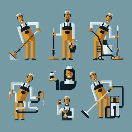 servicio domestico: aspire iconos trabajadores más limpios. Colección de iconos de colores sobre fondo azul