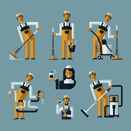 carpet cleaning service design: vacuum cleaner worker icons. Collection of color icons on blue background