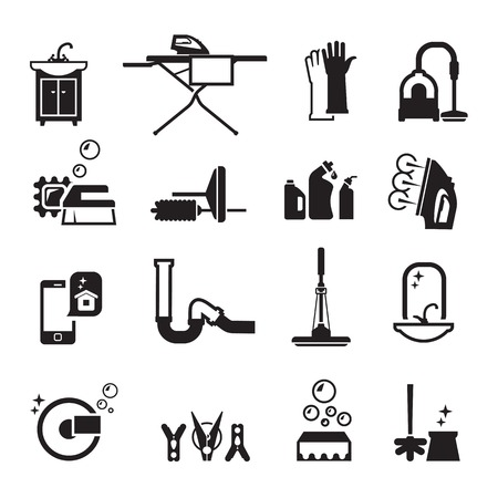 washstand: purity icons set. cleaning products. Set of black icons on a black background