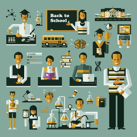 symbol people: Education icons. Set of icons on a theme school Illustration