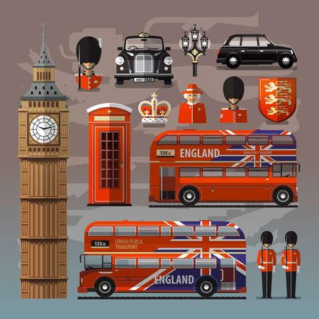 bus anglais: Royaume-Uni. Collection d'icônes et de symboles colorés