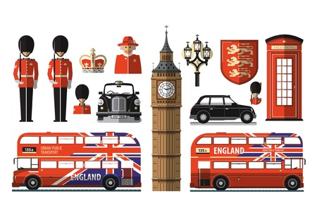 Set of icons and symbols on the United Kingdom, London
