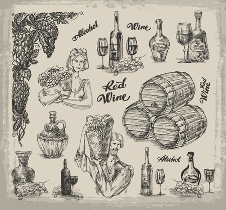A collection of sketches on the theme of wine-making, wine